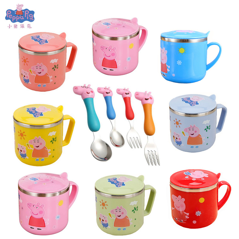 Original Peppa Pig Fork Spoon Tableware Toy Stainless Steel Double Water Cup Drop-proof Cup Children's Birthday Christmas Gift