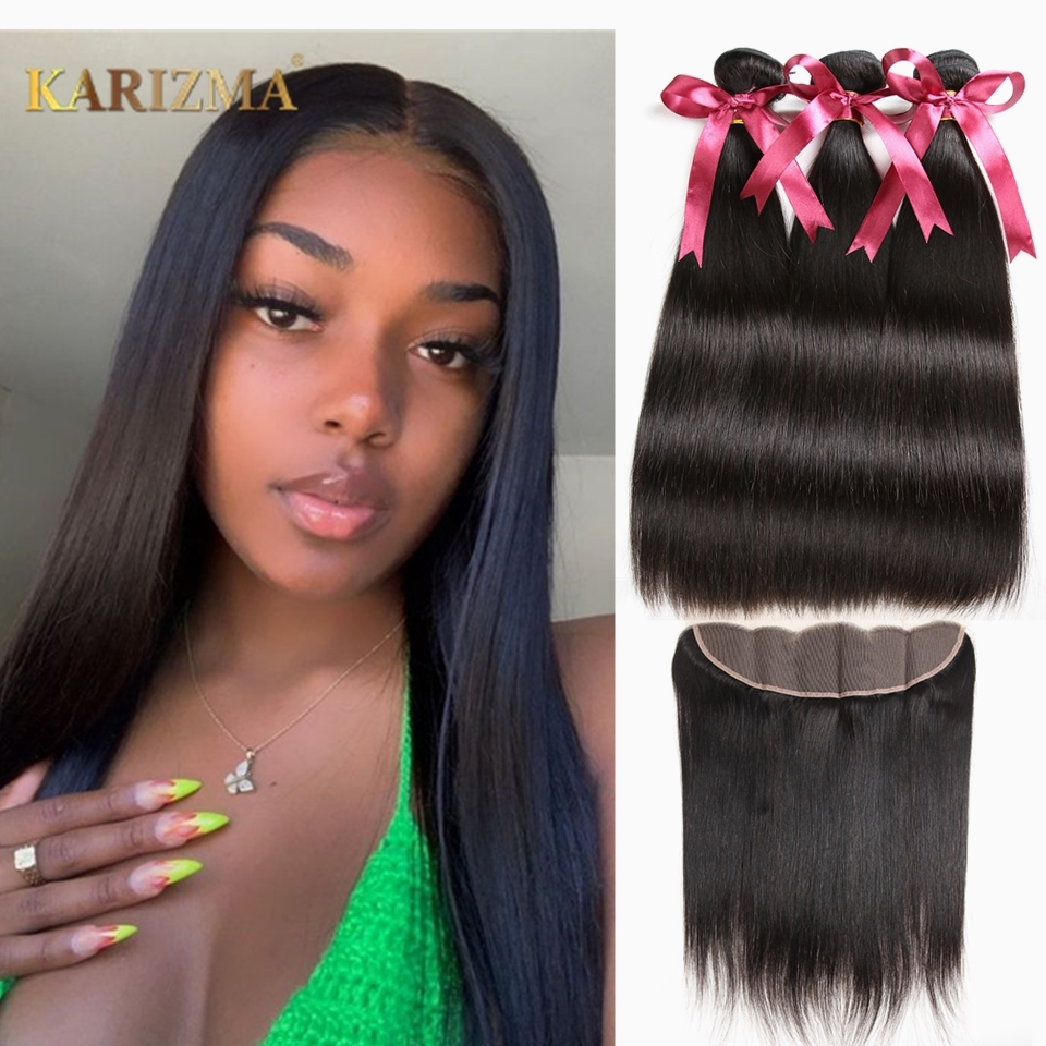 Karizma Brazilian Hair Weave Bundles With Frontal 13X4 Closure Human Hair Weave Straight Hair Bundles With Frontal Non Remy Hair