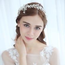 Bridal Flower Headband Pearl Crystal Wedding Hair Vine Bridal Headpiece Hair ornaments Women Silver Color Wedding Hair Jewelry недорого