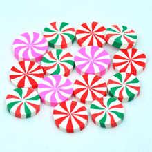 20ミリメートル10個3色フェイククリスマスキャンディー、ドールハウスポリマークレイキャンディミニチュア、diyの装飾工芸品