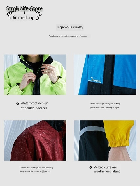 Adult Raincoat Women Men Outdoor Hiking Rain Pants Suit Motorcycle Rain Coat Waterproof Rain Poncho Jacket Capa De Chuva Gift 2