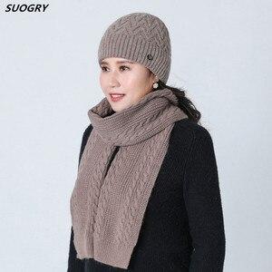 Nouvelle fourrure de lapin pour femmes âgées   Couvre-chef en laine, tricot pour hiver chaud, pour mère âge moyen et dame, bonnet écharpe trois pièces