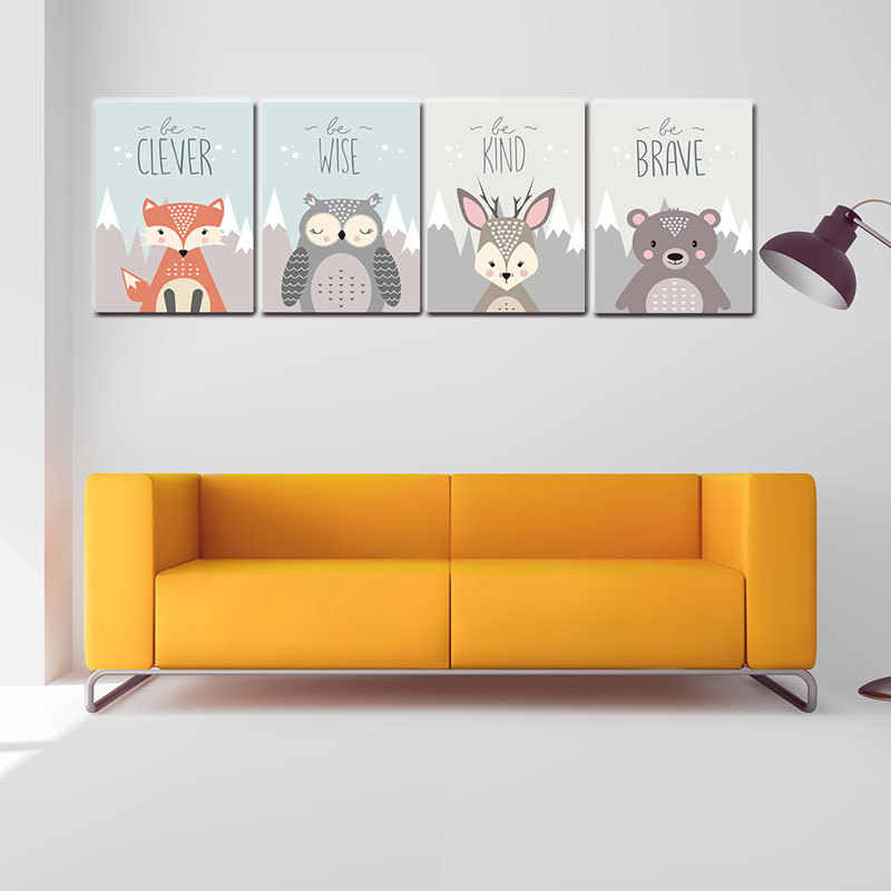 Nordic Deer Fox Bear Forest Canvas Poster Minimalist Painting Jungle Animal Wall Art Print Kids Cartoon Pictures Room Decor