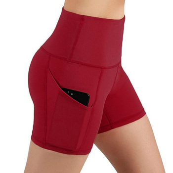 Newly Women Summer High Waist Biker Shorts Pocket Yoga Slim Leggings Short Pants CTN88