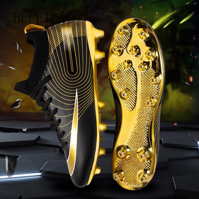 Golden Men Football Boots High Ankle Soccer Shoe Women Soft Groud Man Football Shoes Botas De Futbol Socks Cleats Training 2020