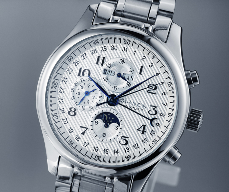 Hc58386208fd04a829830876819a049f41 GUANQIN Relogio Masculino Automatic Mechanical Men Watches Waterproof Calendar Moon Leather Wristwatch otomatik erkek saat