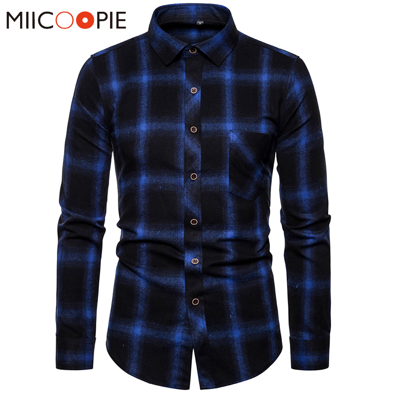 Mens Clothing Blouse Blue Gradient Striped Men Dress Shirt Tops Casual Business Plaid Print Long Sleeves Camisa Social Masculina