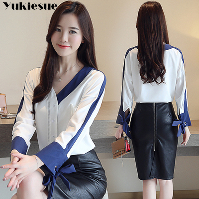 womens tops and blouses solid white chiffon blouse office shirt blusas mujer de moda 2020 long sleeve women shirts clothes 6
