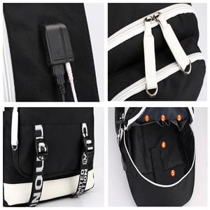 Image 5 - Naruto erkekler için sırt çantası kız çocuk okul çantası Usb şarj ile baskı Sharingan Logo öğrenci dizüstü seyahat sırt çantası erkekler için