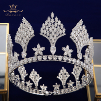 Luxury Round Full Zircon Crystal Brides Tiaras Crowns Headpieces Bridal Headbands Wedding Hair Accessories