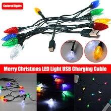Câble lumineux Led joyeux noël, cordon de chargeur USB pour Iphone et Android, cordon de chargeur pour téléphone portable, 1 pièce