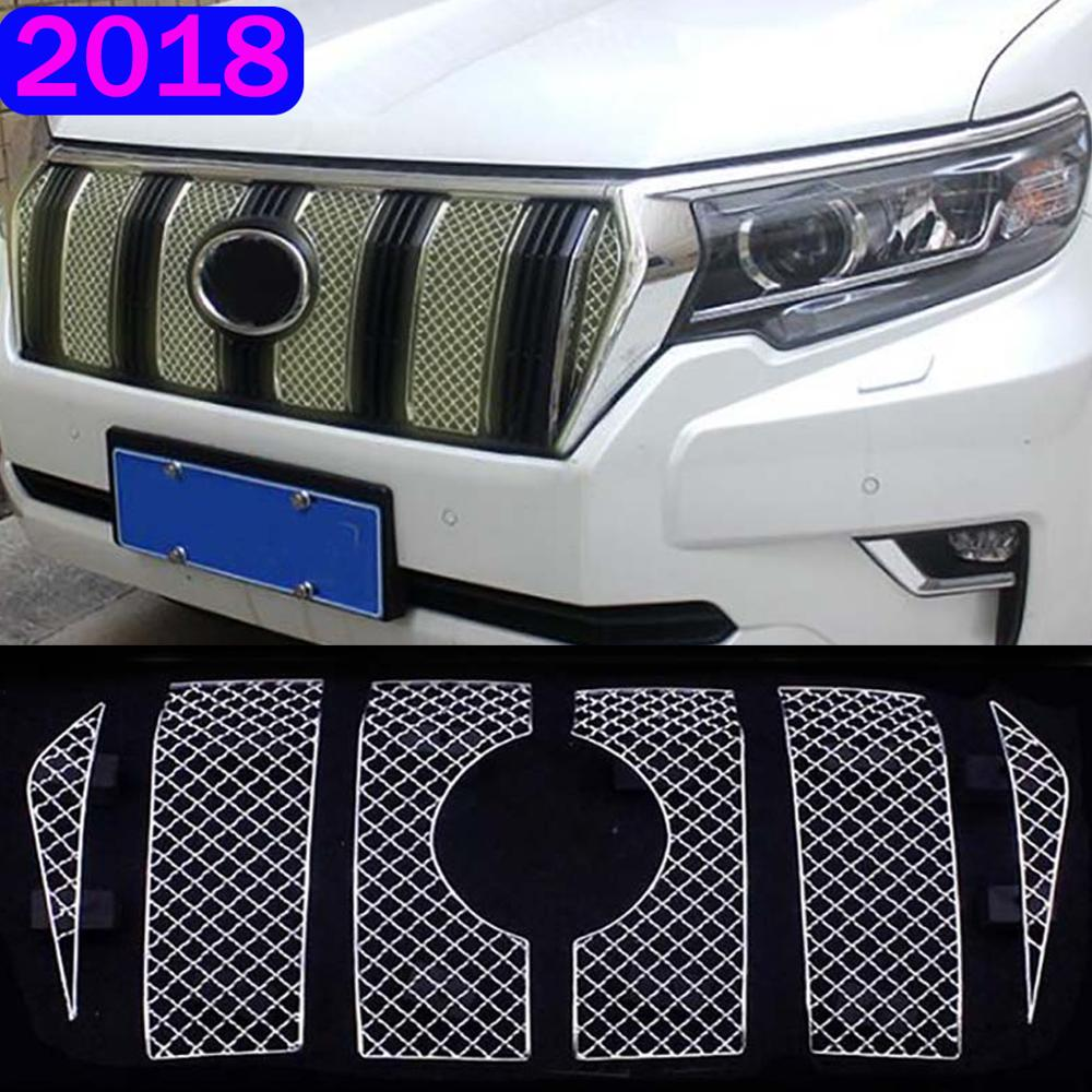 6pcs Stainless Steel For Toyota Land Cruiser Prado 150 2018 FJ150 Car Front Screening Mesh Front Grille Decoration Car styling