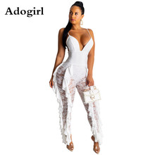 Adogirl Spaghetti Strap Sexy V Neck Women Jumpsuit Lace Patchwork Backless Female Jumpsuit Romper Wide Leg Party Ladies Overalls plunge v neck strap back lace romper in printing