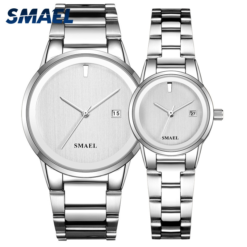 SMAEL Watch Offer Set Couple LUXURY Classic Stainless Steel Watches Splendid Gent Lady Waterproof Reloj Mujer Relogio Masculino