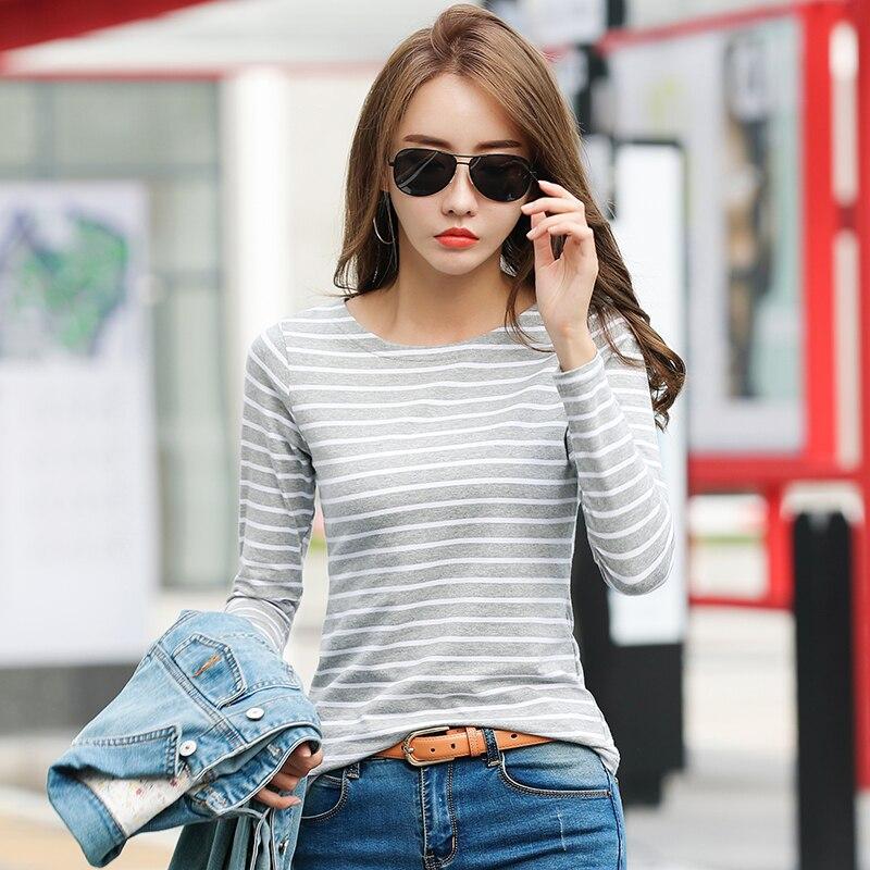 Женская футболка в полоску с длинным рукавом большого размера