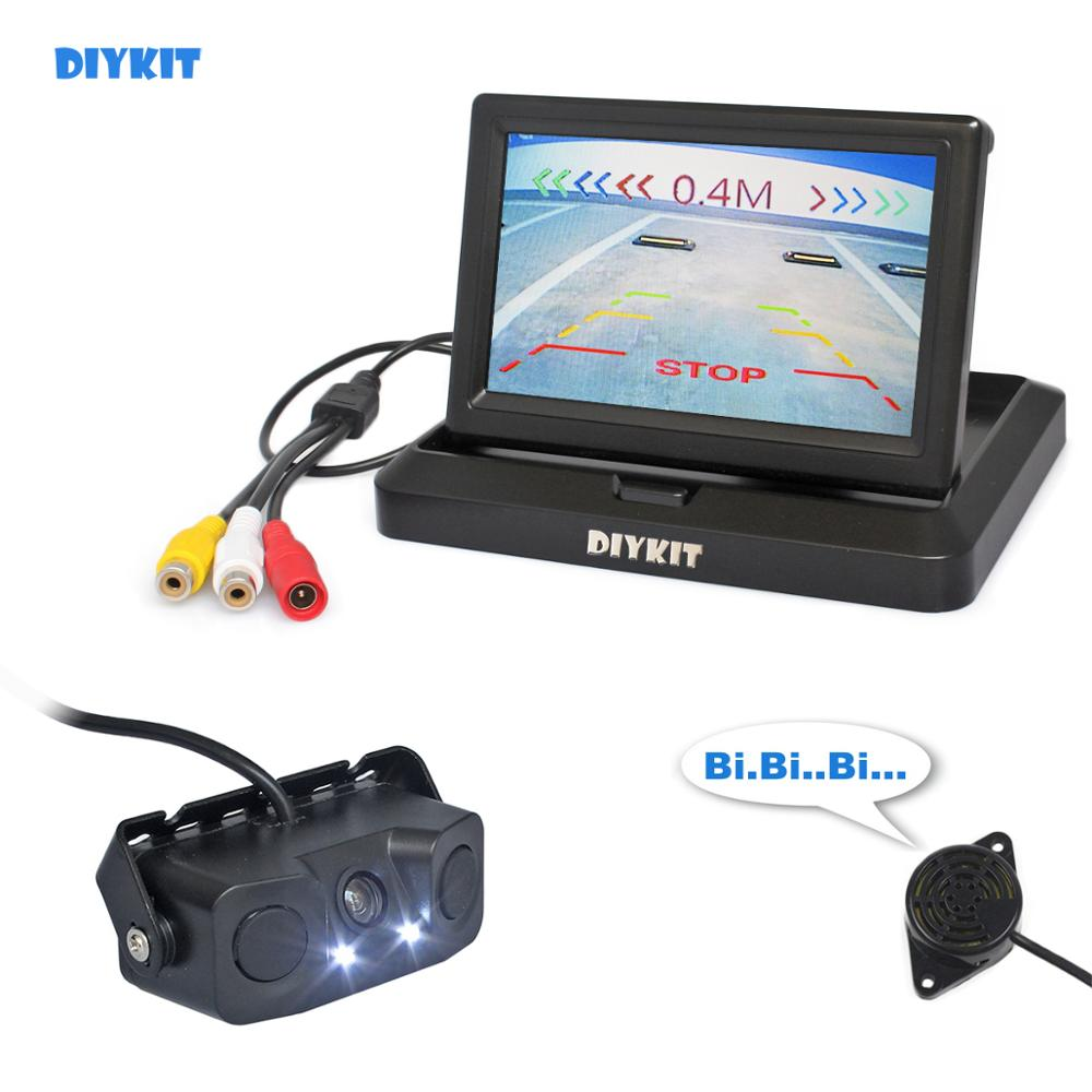 DIYKIT 5 Inch Car Reversing Camera Kit Back Up Car Monitor Parking Radar Sensor 2 in