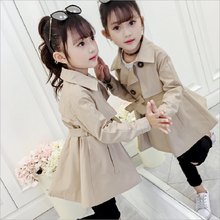 Coat Windbreaker Spring Trench Girls Children's Cotton Solid for Kids Double-Breasted