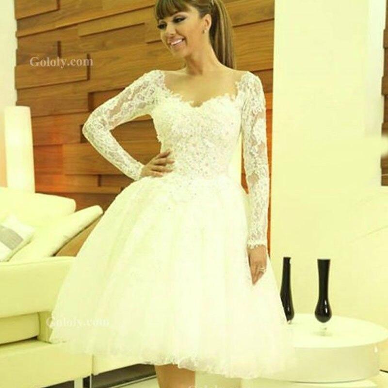 Myriam Fares V Neck Appliqued Flowers Long Sleeve A Line Short Knee Length Lace Bridal Wedding Bridesmaid Dresses