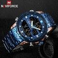 NAVIFORCE мужские военные наручные часы из нержавеющей стали люксовый бренд мужские часы модные спортивные часы мужские водонепроницаемые ква...
