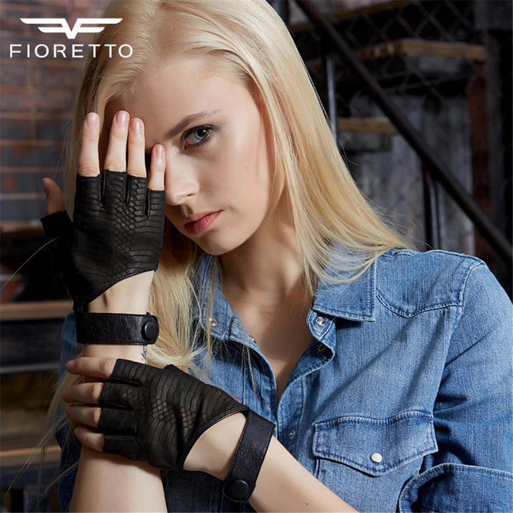 FIORETTO Women's Crocodile Fingerless Gloves Genuine Leather Half Finger Driving Gloves Ladies Cosplay Winter Gloves  Blue Green