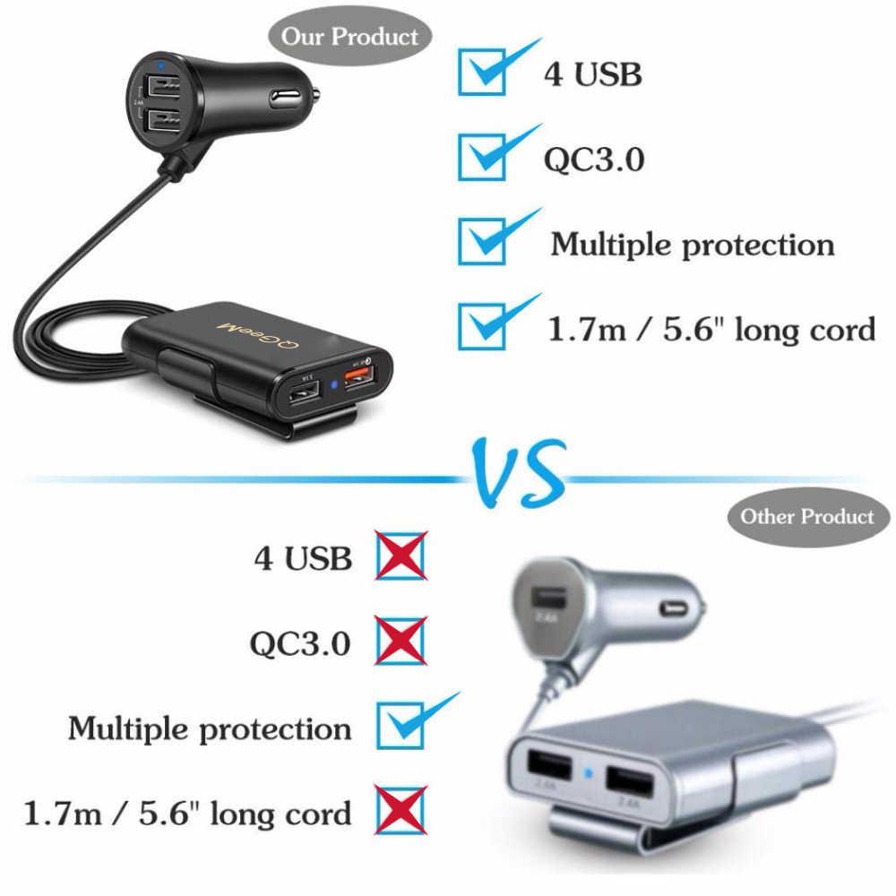 QGEEM 4 USB QC 3,0 Auto Ladegerät Schnell Ladung 3,0 Telefon Auto Schnelle Vorderseite Rückseite Ladegerät Adapter Auto Tragbare Ladegerät stecker für iPhone