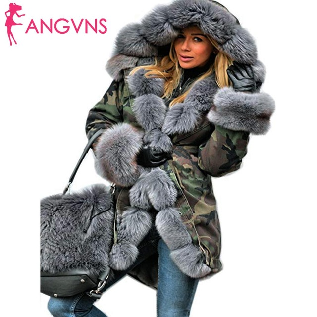 New Winter Women Casual Hooded Long Above Knee Sleeve Thicken Camouflage Artificial fur Coat