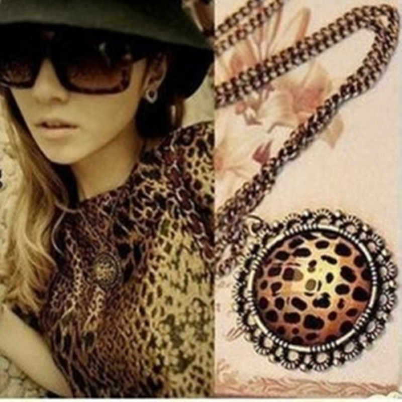2019 new arrival hot Korean retro disc message flower necklace sweater chain Leopard necklace подвеска	цепочка бижутерия	кулон