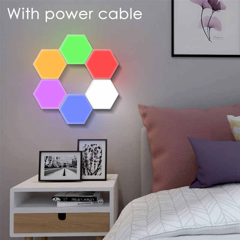Modular Touch Lights 10 PCS LED Hex Light Quantum Magnetic Sensitive Sensor Lighting Night Lamp Home Decoration Wall ночник