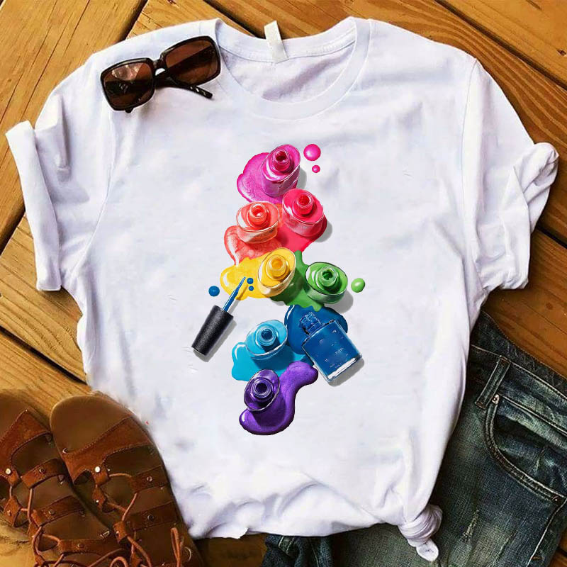 <font><b>Women</b></font> T <font><b>Womens</b></font> Graphic 3D Finger Nail Paint Color Fashion Cute Printed Top <font><b>Tshirt</b></font> Female Tee Shirt Ladies Clothes T-shirt image