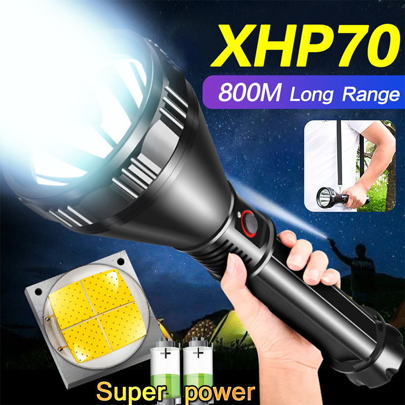 Wide-angle Long-range Flashlight Rechargeable Super Bright XHP70.2 LED Torch Waterproof Lantern By 26650 Battery For Camping