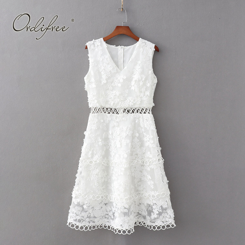 Ordifree 2019 Summer Women White Embroidery Dress Hollow Out Sexy Sleeveless Party Dress