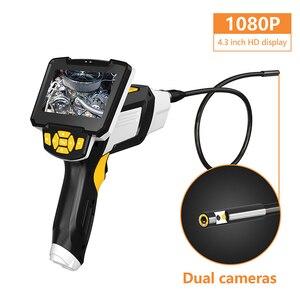 """Image 2 - Endoscope tenu dans la main portatif de double lentille 4.3 """"caméra dinspection décran avec lendoscopie numérique industrielle de 6 LED 8mm avec la carte de 32GB TF"""