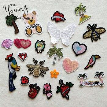 Декоративная заплатка с рисунками из мультфильмов, узор в виде сердца, бабочки, вышивка, аппликация, патчи для самостоятельного изготовления, железные наклейки на одежду