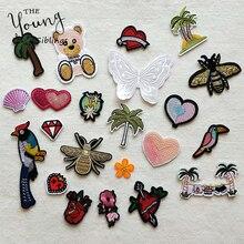Parches decorativos de dibujos animados árbol con corazón diseño de mariposa apliques, parches para DIY hierro sobre parche pegatinas en la ropa