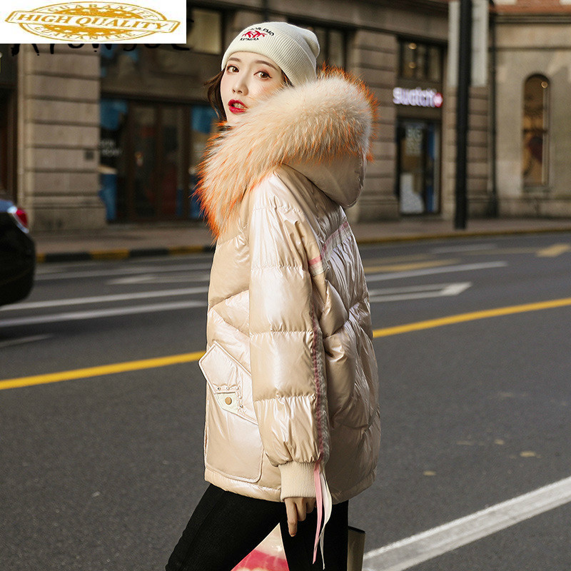 90% Duck Down Jacket Women Clothes 2019 Winter Coat Women Korean Raccoon Fur Collar Puffer Jacket Women Parka 19D98813 YY2110