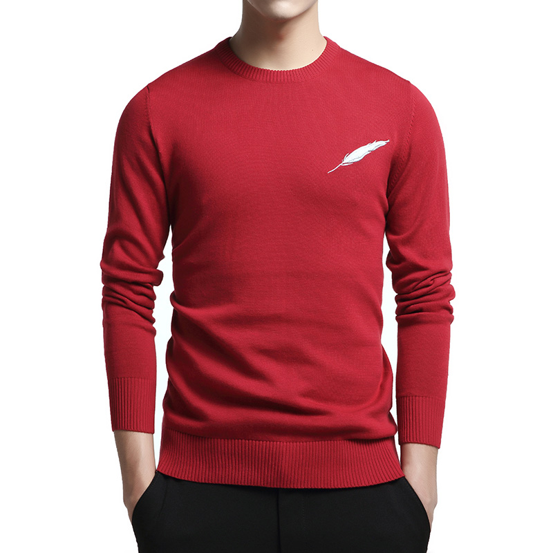 Embroidery Sweater Men Casual 100% Cotton Pull Homme Knitted Pullover Men Autumn Winter Fashion Jumper Sweaters Weather Coat 3XL
