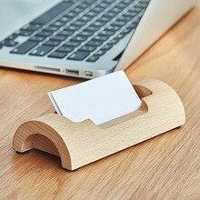 Desktop Wood Business Card Holder Personalized Naturals Organizer for Desk GV99