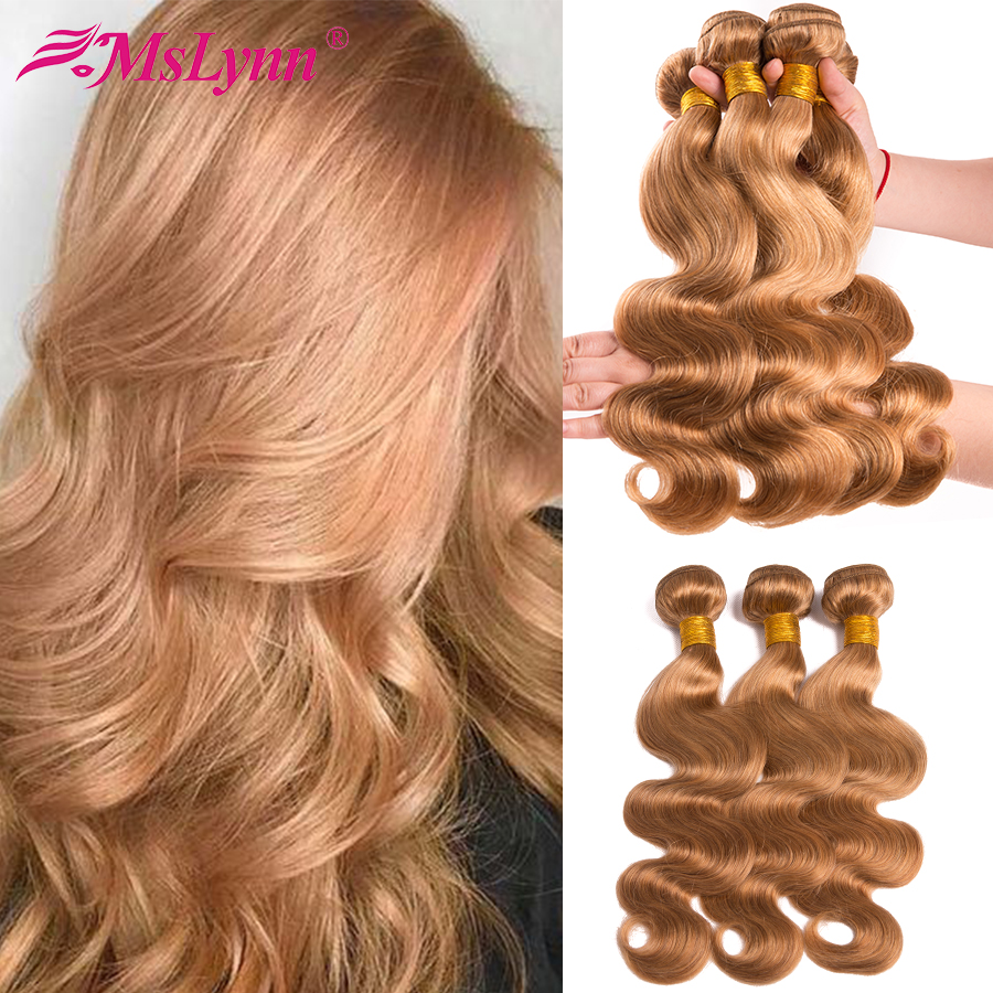 Blonde Bundles Body Wave Bundles Brazilian Hair Weave Bundles #27 Honey Blonde Bundles Human Hair Extension Mslynn Remy Hair
