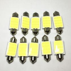 10pcs White FESTOON LED 31mm 36mm 39mm 42mm 1COB Car Bulb 12Chips C5W LED Boot light Auto Interior Dome Light Reading Lights 12V