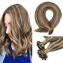 VeSunny Keratin Hair Extensions U Tip Blonde Highlight Pre-Bonded U Tip Hair Extensions Keratin Fusion Human #4p27