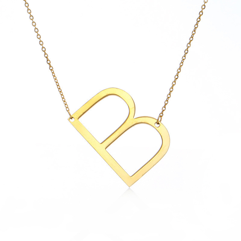 Купить с кэшбэком Factory Outlet Europe and America Alphabet Pendant Letter Leisure Women Necklace Hot Sale Letter Alloy Popular Jewelry Wholesale