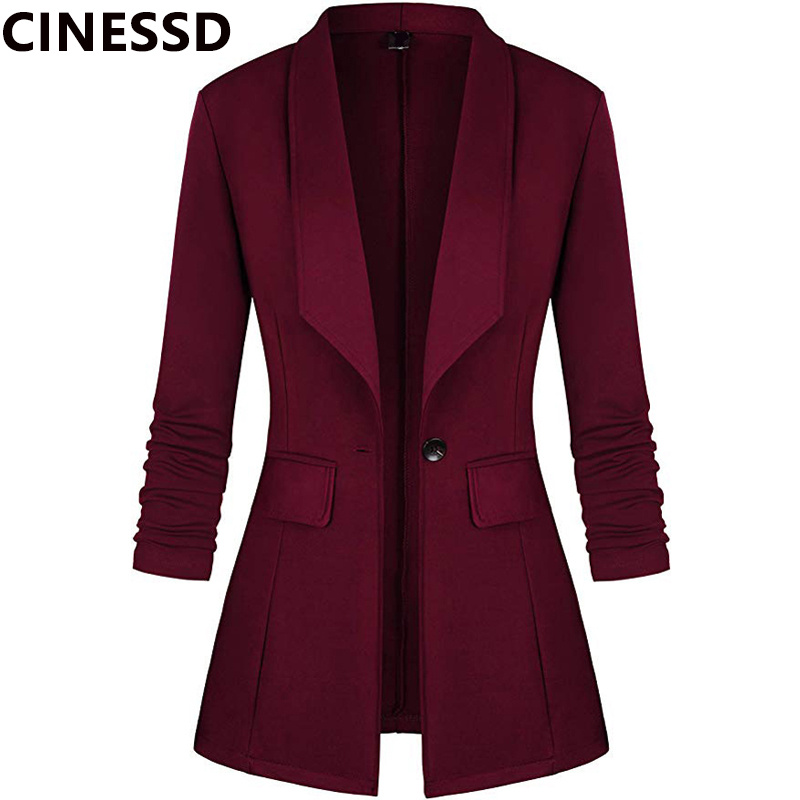 CINESSD Women Casual Blazer Coat Navy Blue Solid Long Sleeves Button Cardigan Cotton Office Lady Black Work Suit Blazer Jackets