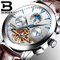 BINGER Moon Phase Топ бренд для мужчин s механические часы автоматические Турбийон Скелет часы для мужчин календарь Relogio Masculino Прямая поставка