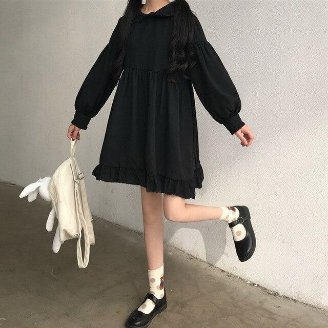 Sweet Cute Kawaii Girls Lolita Dress Princess Maid Vintage Ruffles Dresses Puff Sleeve Red Black Pink Women Dress Round Collar 6