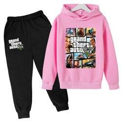 Kids Oversized Baby Hoodie Grand Theft Auto Boy Clothes Toddler Girls Sweatshirt+pants GTA 5 Print Children Clothing Teens Tops