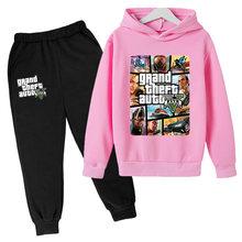 Crianças de grandes dimensões do bebê hoodie grande roubo roupas menino da criança meninas moletom + calças gta 5 imprimir crianças roupas adolescentes topos