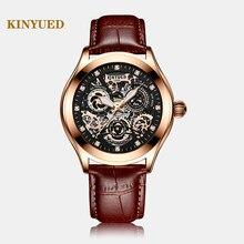 Super mechaniczny zmysł, ostry zegarek z wycięciami Disc, KINYUED, najnowsza moda wodoodporny Luminous męski automatyczny zegarek mechaniczny