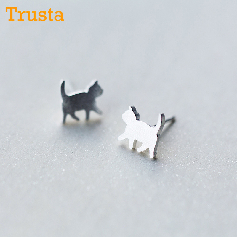 Trusta Newest 925 Sterling Silver Women's Jewelry Fashion Tiny 8mmX9mm Cat Stud Earrings Gift For Girls Kid Lady Women DS126