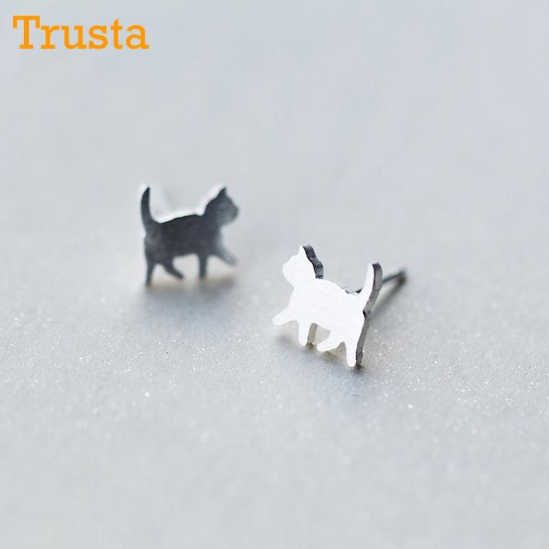 Trusta Newest 925 Sterling Silver Women's Jewelry Fashion Tiny 8mmX9mm Cat Stud Earrings Gift For Girls Kid Lady Women DS126