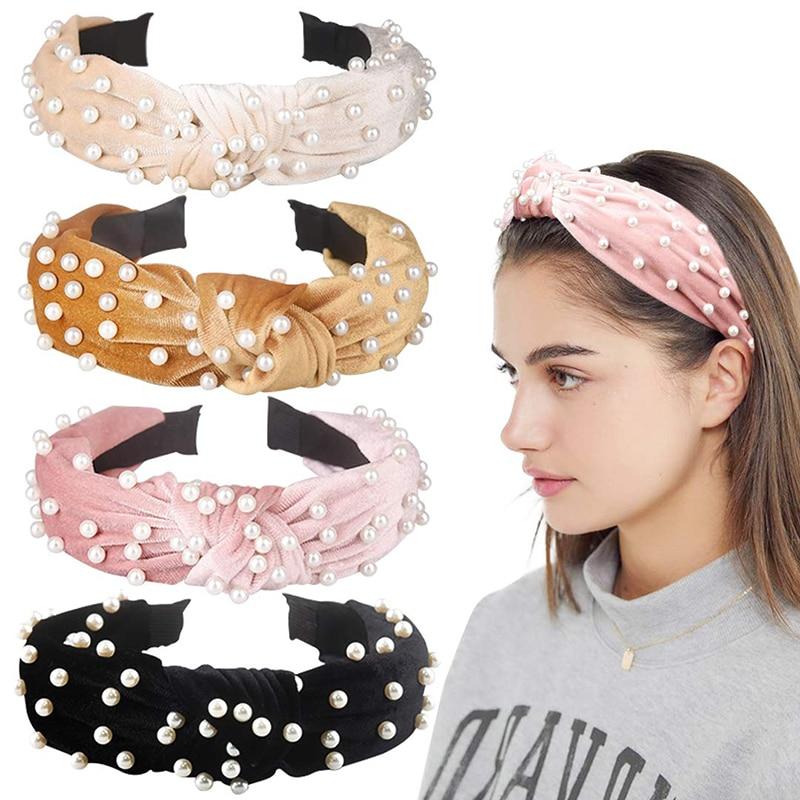 Girls Wide Headband Knot Headwear Retro Hair Bands With Faux Pearl Elastic Headdress Fashion Hair Accessories For Ladies